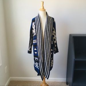 Lucky Brand Blue and Black Knit Cardigan, L/XL